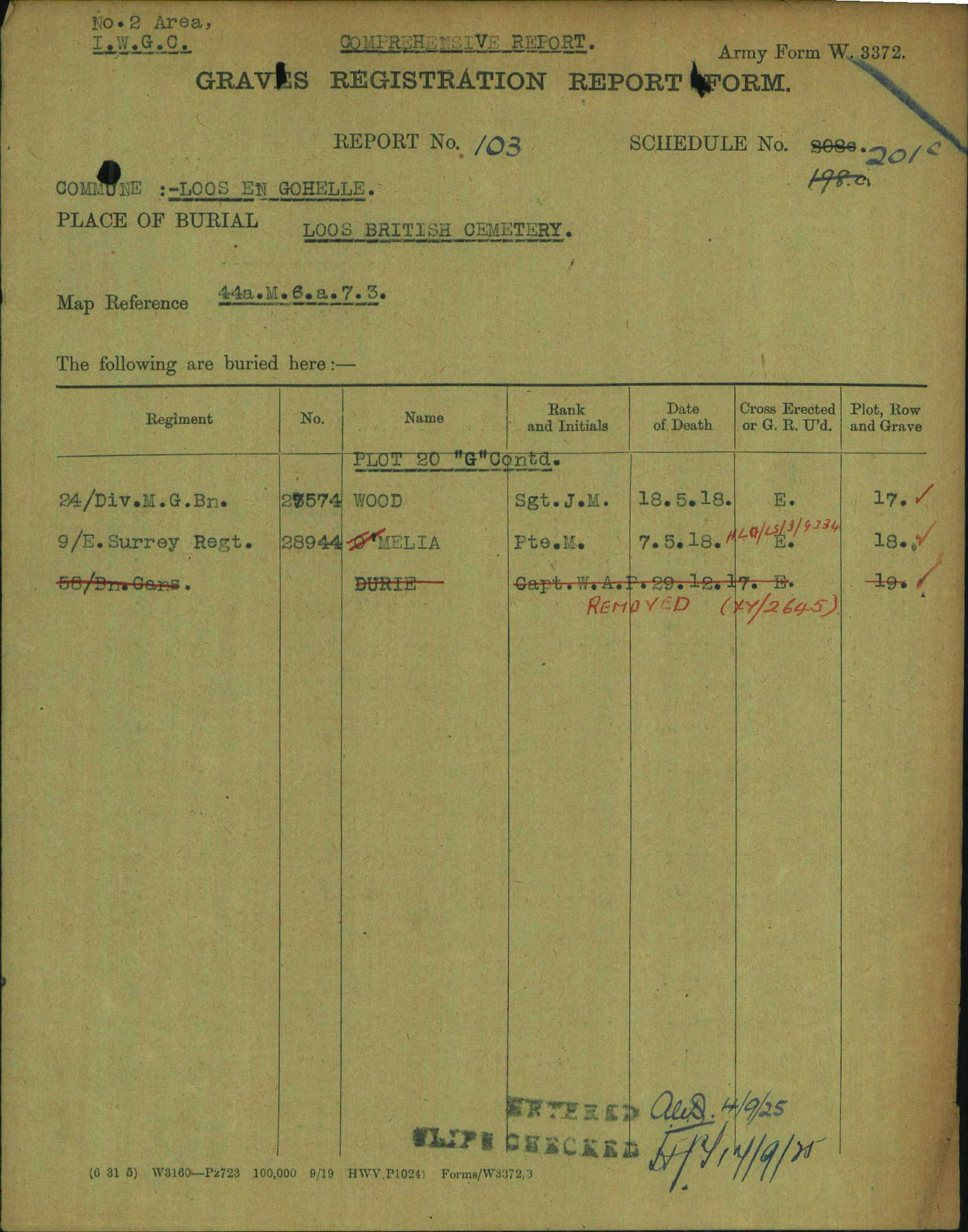 """Document– """"Graves Registration Report Form"""" report from the Commonwealth War Graves Commission files showing that Captain Durie had was being buried in the Loos British Cemetery (Grid 44a.M6.a.7.3) in Plot 20 Row C Grave 19. It was during this process that the family of Captain Durie removed his body from the """"zinc lined coffin"""" and repatriated it to Canada. The story says that the CWGC were not aware that the body had been removed from the coffin until the repatriation and reburial in Canada was reported in the newspaper. It would appear from this GRRF that the CWGC thereafter removed the empty coffin."""