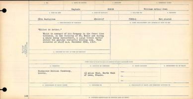 Circumstances of death– KIA While in command of his company in the front line trenches in the vicinity of St. Emile and during heavy bombardment a large trench mortar struck the parados instantly killing him. This occurred at 10:15 AM December 29 1917 http://data2.archives.ca/microform/data2/dm13/d13/006003/31829_B016739/pdf/31829_B016739-00000.pdf http://www.bac-lac.gc.ca/eng/discover/mass-digitized-archives/circumstances-death-registers/Pages/item.aspx?PageID=51271 Mikan record:46246 Volume Number:31829_B016739 Page:853