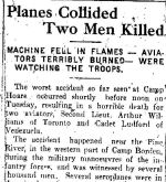 """Newspaper Clipping– This report of the death of Second Lieutenant A.C. Williams appeared at page 5 in the September 20, 1917 issue of the Barrie Examiner newspaper (Barrie, Ontario).  Note that, contrary to what is stated in this report, the other occupant of the airplane, Cadet J.E. Ludford, was a member of the Royal Flying Corps (not the """"American Flying Corps"""") and his hometown was Caracas, Venezuela (not """"Baracas"""").  Note too that Camp Hoare was the Royal Flying Corps airfield at Camp Borden, west of Barrie, Ontario, named after Lieutenant-Colonel (later Brigadier-General) C.G. Hoare, the commanding officer of the RFC in Canada."""