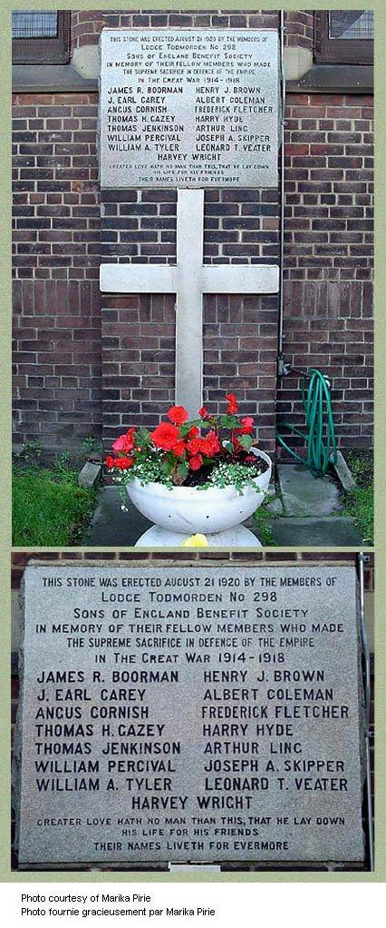 Todmorden Sons of England (SOE) war memorial