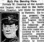 Newspaper Clipping– Clipping from the Toronto Star for 25 February 1916.