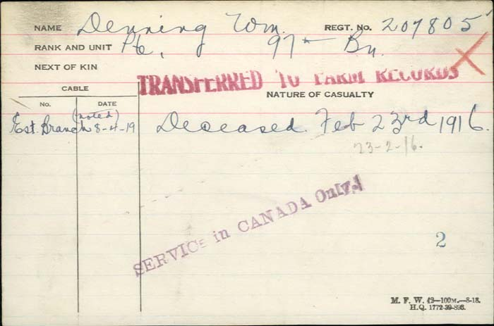 Death Certificate– New York native Pte William Denning, Canadian Foreign Legion, 97 Bn dies #OTD Feb 23 1916 http://www.collectionscanada.gc.ca/microform-digitization/006003-119.01-e.php?q2=36&q3=2863&sqn=135&tt=1318&PHPSESSID=k596esfg1dk62ldn5gu2grrkg0