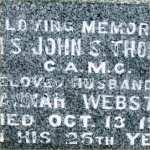 Grave marker– Photo of QMS Thomson's gravemarker at St. John's (Norway) Cemetery, Toronto, Ontario.