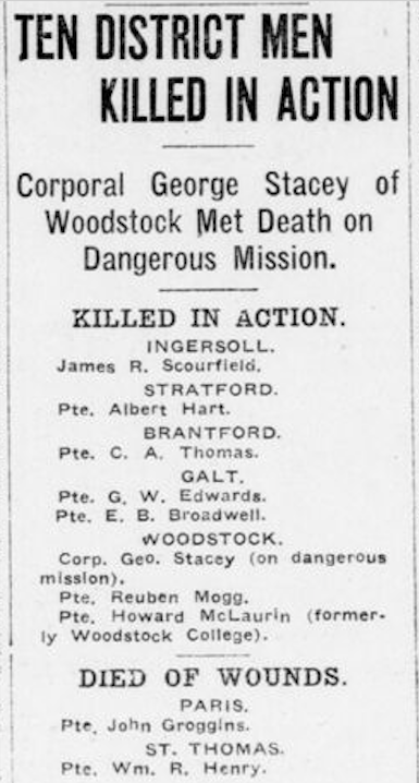 Newspaper clipping– In memory of the men and women of London, Ontario (and area) who went to war and did not come home. Remembered on the pages of the World War One issues of the London Advertiser. Submitted for the project Operation Picture Me