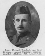 "Photo of Kenneth Turnbull– Photo taken from ""A Short History and Photographic Record of the 73rd Battalion, Canadian Expeditionary Force, Royal Highlanders of Canada"" .  Page 8.  OFFICERS OF 'C' COMPANY"