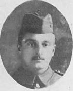 """Photo of Charles Wicks– Photo taken from """"A Short History and Photographic Record of the 73rd Battalion, Canadian Expeditionary Force, Royal Highlanders of Canada"""" Page 34. 'C' Company.  No. 12 Platoon."""