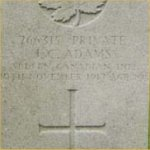 Photo of John Charles Adams– From the Lijssenthoek Military Cemetery section of a Web site at:  http://www.silentcities.co.uk