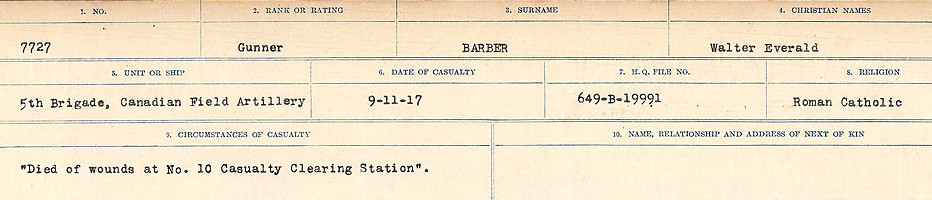 Circumstances of Death Registers– Source: Library and Archives Canada.  CIRCUMSTANCES OF DEATH REGISTERS, FIRST WORLD WAR Surnames:  Babb to Barjarow. Microform Sequence 5; Volume Number 31829_B016715. Reference RG150, 1992-93/314, 149.  Page 977 of 1072