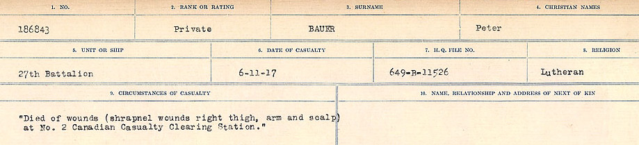 Circumstances of Death Registers– Source: Library and Archives Canada.  CIRCUMSTANCES OF DEATH REGISTERS, FIRST WORLD WAR Surnames:  Bark to Bazinet. Mircoform Sequence 6; Volume Number 31829_B016716. Reference RG150, 1992-93/314, 150.  Page 943 of 1058.