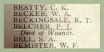 Inscription– Detail of Captain Percy James Belcher's name as it appeared on the Merchants Bank of Canada 1914 - 1918 Roll of Honour.