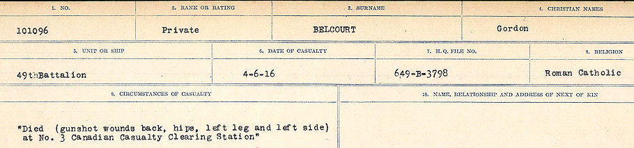 Circumstances of Death Registers– Source: Library and Archives Canada.  CIRCUMSTANCES OF DEATH REGISTERS FIRST WORLD WAR Surnames:  Bea to Belisle. Mircoform Sequence 7; Volume Number 31829_B016717. Reference RG150, 1992-93/314, 151.  Page 681 of 724.