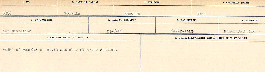 Circumstances of Death– Source: Library and Archives Canada.  CIRCUMSTANCES OF DEATH REGISTERS FIRST WORLD WAR Surnames:  Bell to Bernaquez.  Mircoform Sequence 8; Volume Number 31829_B016718; Reference RG150, 1992-93/314, 152 Page 619 of 670