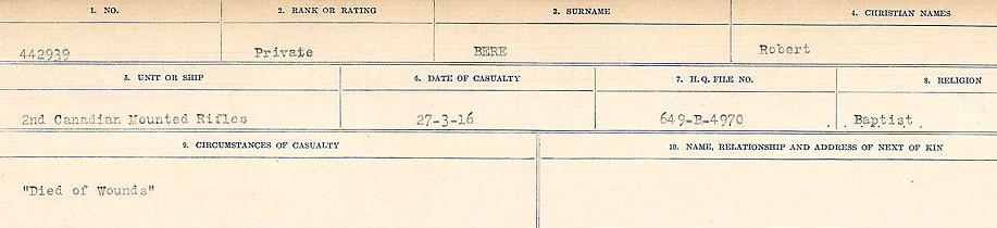 Circumstances of Death– Source: Library and Archives Canada.  CIRCUMSTANCES OF DEATH REGISTERS FIRST WORLD WAR Surnames:  Bell to Bernaquez.  Mircoform Sequence 8; Volume Number 31829_B016718; Reference RG150, 1992-93/314, 152 Page 627 of 670