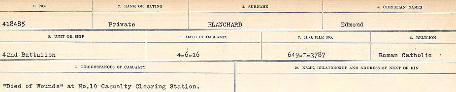 Circumstances of Death Registers– Source:  Library and Archives Canada.  CIRCUMSTANCES OF DEATH REGISTERS FIRST WORLD WAR Surnames: Blampie to Booth; Mircoform Sequence 11; Volume Number 131829_B016720; Reference RG150, 1992-93/314, 155 Page 15 of 762