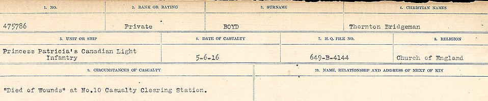 Circumstances of Death Registers– Source: Library and Archives Canada.  CIRCUMSTANCES OF DEATH REGISTERS FIRST WORLD WAR Surnames: Border to Boys. Mircoform Sequence 12; Volume Number 131829_B016721; Reference RG150, 1992-93/314, 156 Page 839 of 934.