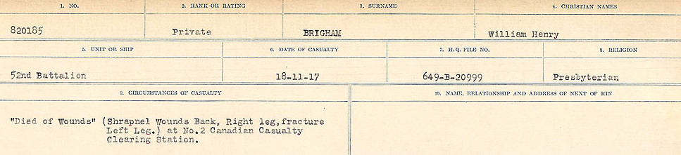 Circumstances of Death Registers– Source: Library and Archives Canada.  CIRCUMSTANCES OF DEATH REGISTERS FIRST WORLD WAR Surnames: Brabant to Britton. Mircoform Sequence 13; Volume Number 131829_B016722; Reference RG150, 1992-93/314, 157 Page 739 of 906