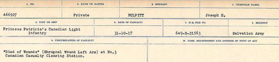 Circumstances of Death Registers– Source: Library and Archives Canada.  CIRCUMSTANCES OF DEATH REGISTERS FIRST WORLD WAR Surnames: Brubacher to Bunyan. Mircoform Sequence 15; Volume Number 31829_B016724; Reference RG150, 1992-93/314, 159 Page 587 of 668