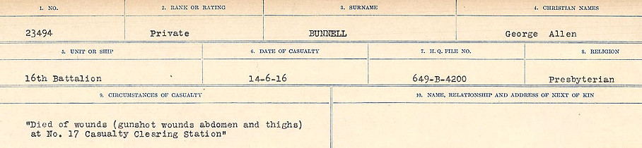 Circumstances of Death Registers– Source: Library and Archives Canada.  CIRCUMSTANCES OF DEATH REGISTERS FIRST WORLD WAR Surnames: Brubacher to Bunyan. Mircoform Sequence 15; Volume Number 31829_B016724; Reference RG150, 1992-93/314, 159 Page 635 of 668