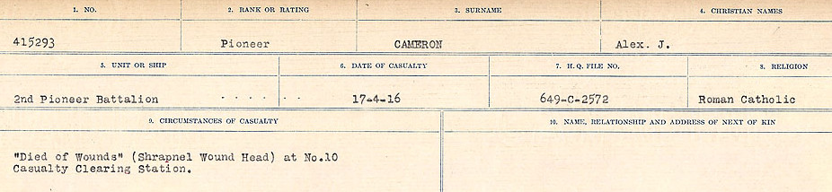 Circumstances of Death Registers– Source: Library and Archives Canada.  CIRCUMSTANCES OF DEATH REGISTERS, FIRST WORLD WAR Surnames:  Cabana to Campling. Microform Sequence 17; Volume Number 31829_B016726. Reference RG150, 1992-93/314, 161.  Page 339 of 1024.