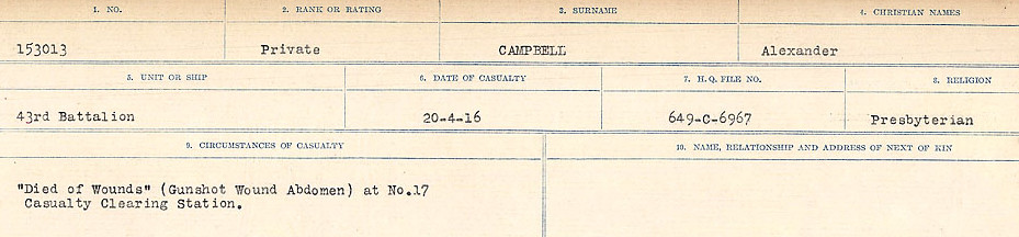Circumstances of Death Registers– Source: Library and Archives Canada.  CIRCUMSTANCES OF DEATH REGISTERS, FIRST WORLD WAR Surnames:  Cabana to Campling. Microform Sequence 17; Volume Number 31829_B016726. Reference RG150, 1992-93/314, 161.  Page 527 of 1024.