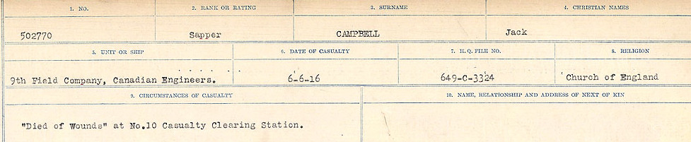 Circumstances of Death Registers– Source: Library and Archives Canada.  CIRCUMSTANCES OF DEATH REGISTERS, FIRST WORLD WAR Surnames:  Cabana to Campling. Microform Sequence 17; Volume Number 31829_B016726. Reference RG150, 1992-93/314, 161.  Page 747 of 1024