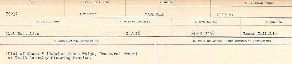 Circumstances of Death Registers– Source: Library and Archives Canada.  CIRCUMSTANCES OF DEATH REGISTERS, FIRST WORLD WAR Surnames:  Cabana to Campling. Microform Sequence 17; Volume Number 31829_B016726. Reference RG150, 1992-93/314, 161.  Page 889 of 1024