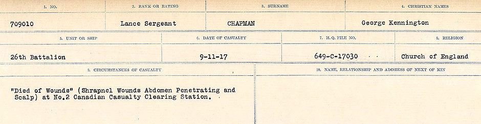 Circumstances of Death Registers– Source: Library and Archives Canada.  CIRCUMSTANCES OF DEATH REGISTERS, FIRST WORLD WAR Surnames:  CATCHPOLE TO CHIGNELL. Microform Sequence 19; Volume Number 31829_B016728. Reference RG150, 1992-93/314, 165. Page 547 of 958.