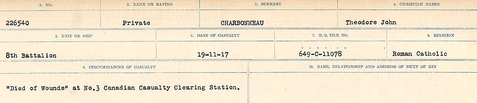 Circumstances of Death Registers– Source: Library and Archives Canada.  CIRCUMSTANCES OF DEATH REGISTERS, FIRST WORLD WAR Surnames:  CATCHPOLE TO CHIGNELL. Microform Sequence 19; Volume Number 31829_B016728. Reference RG150, 1992-93/314, 165. Page 667 of 958.