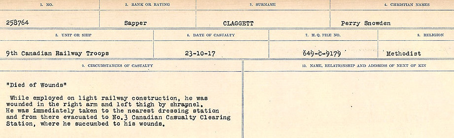 Circumstances of Death Registers– Source: Library and Archives Canada.  CIRCUMSTANCES OF DEATH REGISTERS, FIRST WORLD WAR Surnames:  CHILD TO CLAYTON.  Microform Sequence 20; Volume Number 31829_B016729. Reference RG150, 1992-93/314, 164.  Page of 385 of 1068.
