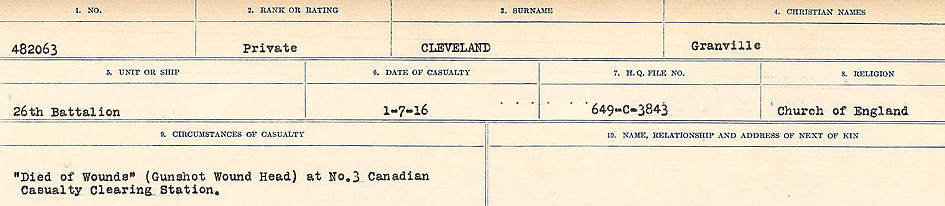 Circumstances of Death Registers– Source: Library and Archives Canada.  CIRCUMSTANCES OF DEATH REGISTERS, FIRST WORLD WAR Surnames:  CLEAL TO CONNOLLY.  Microform Sequence 21; Volume Number 31829_B016730. Reference RG150, 1992-93/314, 165.  Page 153 of 1384.