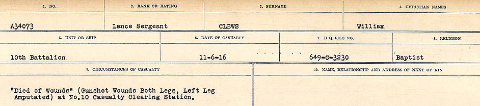 Circumstances of Death Registers– Source: Library and Archives Canada.  CIRCUMSTANCES OF DEATH REGISTERS, FIRST WORLD WAR Surnames:  CLEAL TO CONNOLLY.  Microform Sequence 21; Volume Number 31829_B016730. Reference RG150, 1992-93/314, 165.  Page 169 of 1384.