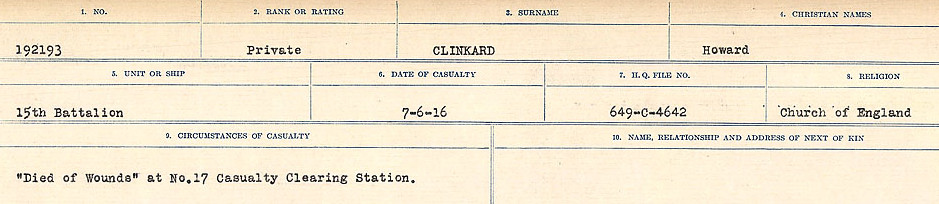 Circumstances of Death Registers– Source: Library and Archives Canada.  CIRCUMSTANCES OF DEATH REGISTERS, FIRST WORLD WAR Surnames:  CLEAL TO CONNOLLY.  Microform Sequence 21; Volume Number 31829_B016730. Reference RG150, 1992-93/314, 165.  Page 243 of 1384.
