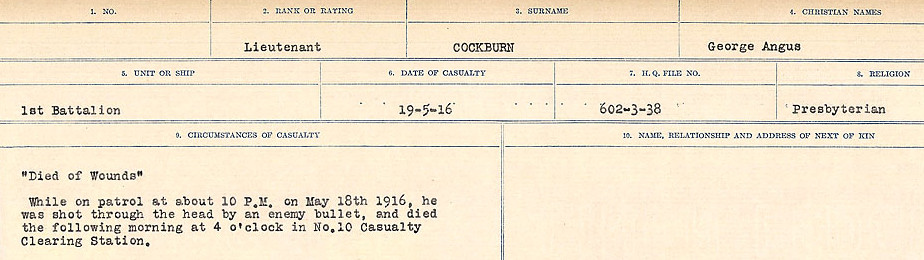 Circumstances of Death Registers– Source: Library and Archives Canada.  CIRCUMSTANCES OF DEATH REGISTERS, FIRST WORLD WAR Surnames:  CLEAL TO CONNOLLY.  Microform Sequence 21; Volume Number 31829_B016730. Reference RG150, 1992-93/314, 165.  Page 461 of 1384.
