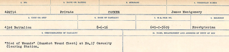 Circumstances of Death Registers– Source: Library and Archives Canada.  CIRCUMSTANCES OF DEATH REGISTERS, FIRST WORLD WAR Surnames:  CLEAL TO CONNOLLY.  Microform Sequence 21; Volume Number 31829_B016730. Reference RG150, 1992-93/314, 165.  Page 481 of 1384.