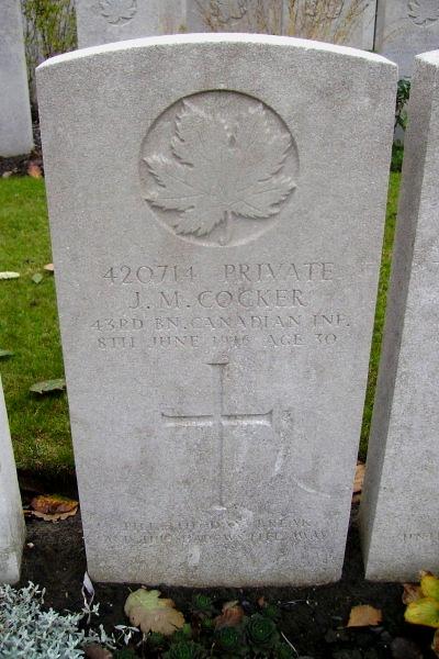 Grave Marker– Grave Marker - Lijssenthoek Military Cemetery … photo courtesy of Marg Liessens