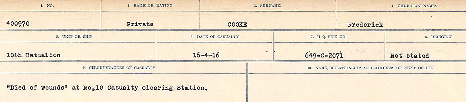 Circumstances of Death Registers– Source: Library and Archives Canada.  CIRCUMSTANCES OF DEATH REGISTERS, FIRST WORLD WAR Surnames:  CONNON TO CORBETT.  Microform Sequence 22; Volume Number 31829_B016731. Reference RG150, 1992-93/314, 166.  Page 369 of 818.