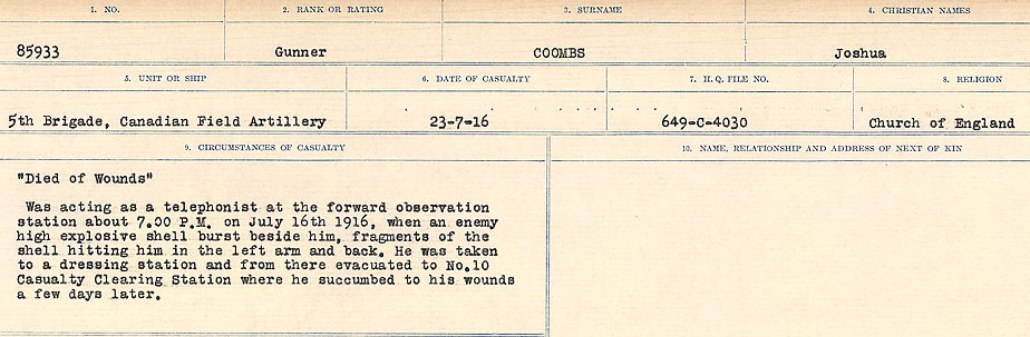 Circumstances of Death– Source: Library and Archives Canada.  CIRCUMSTANCES OF DEATH REGISTERS, FIRST WORLD WAR Surnames:  CONNON TO CORBETT.  Microform Sequence 22; Volume Number 31829_B016731. Reference RG150, 1992-93/314, 166.  Page 473 of 818.
