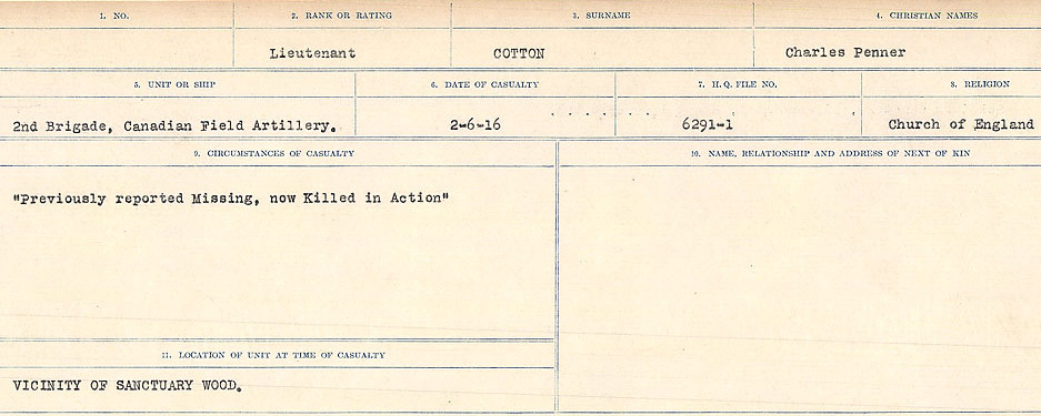 Circumstances of Death Registers– Source: Library and Archives Canada.  CIRCUMSTANCES OF DEATH REGISTERS, FIRST WORLD WAR Surnames:  CORBI TO COZNI.  Microform Sequence 23; Volume Number 31829_B016732. Reference RG150, 1992-93/314, 167.  Page 361 of 900.