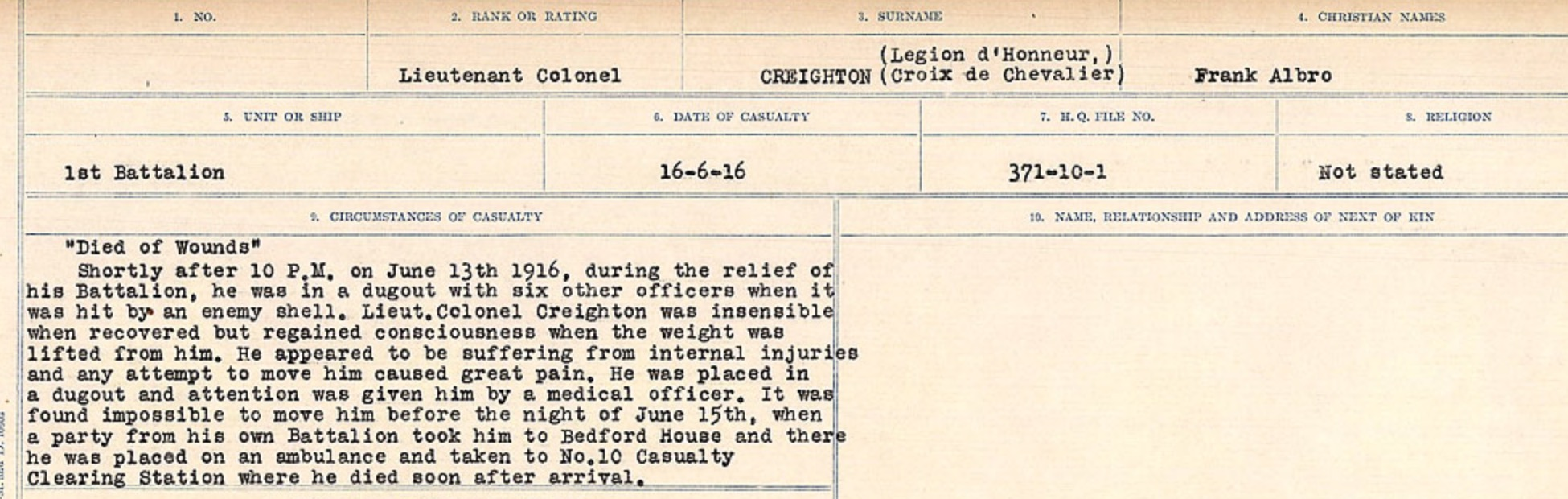 Circumstances of death registers– Source: Library and Archives Canada. CIRCUMSTANCES OF DEATH REGISTERS, FIRST WORLD WAR Surnames: CRABB TO CROSSLAND Microform Sequence 24; Volume Number 31829_B016733. Reference RG150, 1992-93/314, 168. Page 453 of 788.