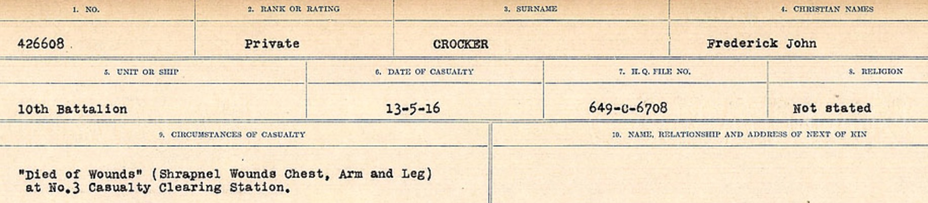 Circumstances of death registers– Source: Library and Archives Canada. CIRCUMSTANCES OF DEATH REGISTERS, FIRST WORLD WAR Surnames: CRABB TO CROSSLAND Microform Sequence 24; Volume Number 31829_B016733. Reference RG150, 1992-93/314, 168. Page 579 of 788.