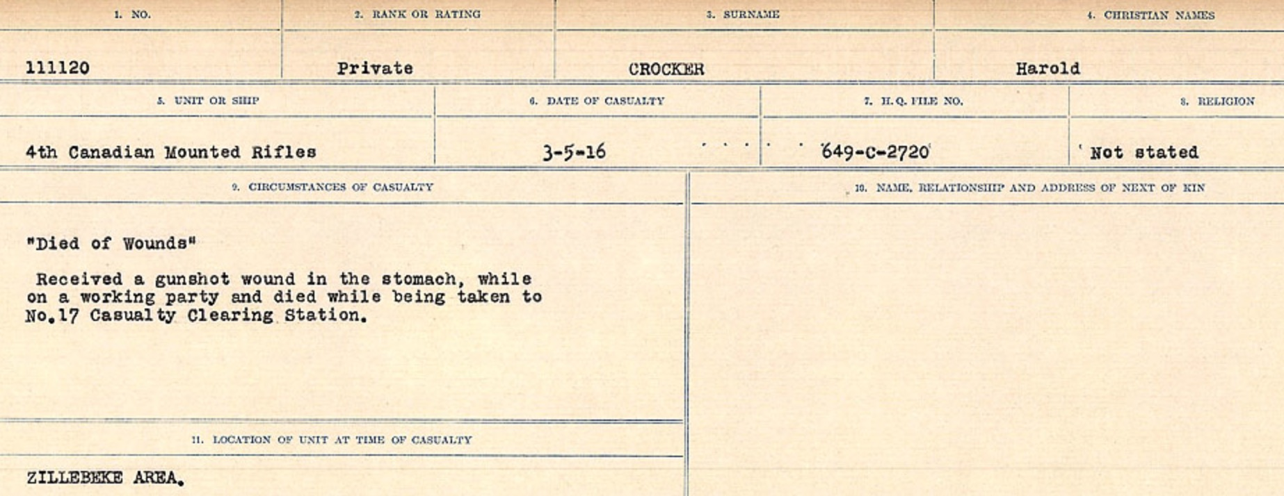 Circumstances of death registers– Source: Library and Archives Canada. CIRCUMSTANCES OF DEATH REGISTERS, FIRST WORLD WAR Surnames: CRABB TO CROSSLAND Microform Sequence 24; Volume Number 31829_B016733. Reference RG150, 1992-93/314, 168. Page 581 of 788