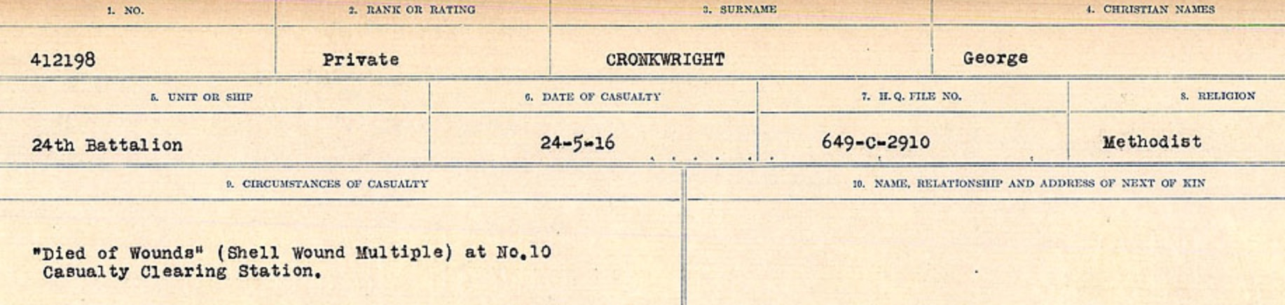 Circumstances of death registers– Source: Library and Archives Canada. CIRCUMSTANCES OF DEATH REGISTERS, FIRST WORLD WAR Surnames: CRABB TO CROSSLAND Microform Sequence 24; Volume Number 31829_B016733. Reference RG150, 1992-93/314, 168. Page 669 of 788.