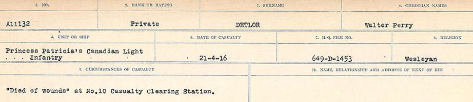 Circumstances of death registers– Source: Library and Archives Canada. CIRCUMSTANCES OF DEATH REGISTERS, FIRST WORLD WAR. Surnames: Davy to Detro. Microform Sequence 27; Volume Number 31829_B016736. Reference RG150, 1992-93/314, 171. Page 1027 of 1036.