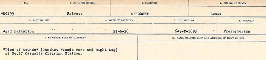Circumstances of death registers– Source: Library and Archives Canada. CIRCUMSTANCES OF DEATH REGISTERS, FIRST WORLD WAR. Surnames: Deuel to Domoney. Microform Sequence 28; Volume Number 31829_B016737. Reference RG150, 1992-93/314, 172. Page 207 of 1084.