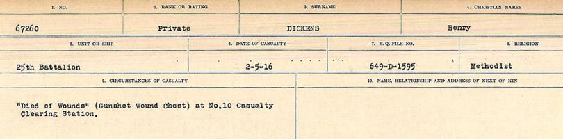 Circumstances of death registers– Source: Library and Archives Canada. CIRCUMSTANCES OF DEATH REGISTERS, FIRST WORLD WAR. Surnames: Deuel to Domoney. Microform Sequence 28; Volume Number 31829_B016737. Reference RG150, 1992-93/314, 172. Page 273 of 1084.