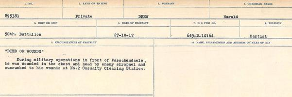 Circumstances of death registers– Source: Library and Archives Canada. CIRCUMSTANCES OF DEATH REGISTERS, FIRST WORLD WAR. Surnames: Don to Drzewiecki. Microform Sequence 29; Volume Number 31829_B016738. Reference RG150, 1992-93/314, 173. Page 903 of 1076.