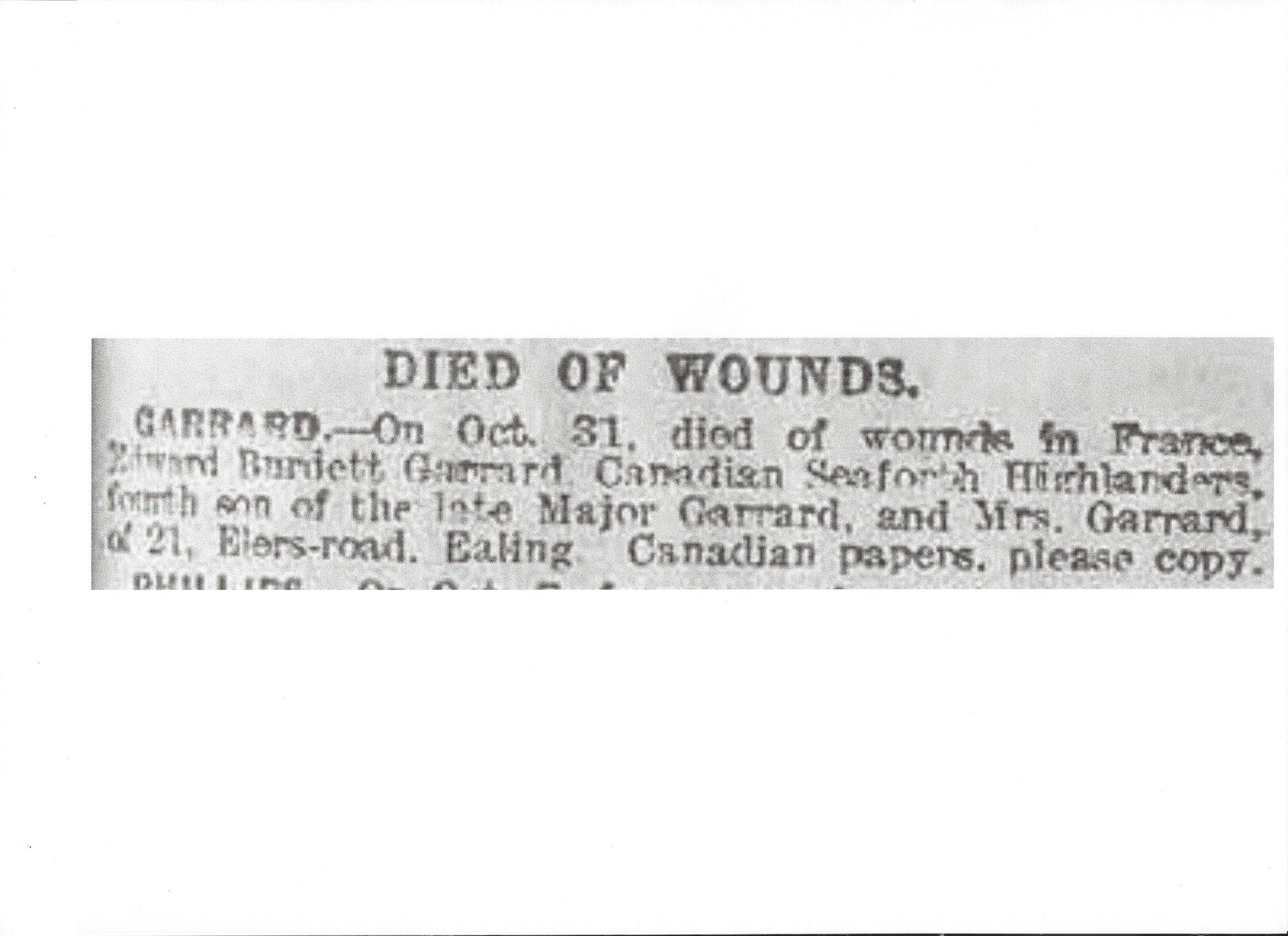 Newspaper clipping– Newspaper clipping from the Daily Telegraph of November 9, 1917. Image taken from web address of http://www.telegraph.co.uk/news/ww1-archive/12214930/Daily-Telegraph-November-9-1917.html