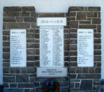 Banff War Memorial– Banff (Alberta) War Memorial.   Erected by the Mount Rundle chapter of the I.O.D.E. and unveiled September 2nd, 1923 near the Great War Veterans' Association Memorial Hall on Banff avenue.  It was made of stone from Mount Rundle.   The current memorial includes a pair of World War Two panels with 29 names on either side of a central panel listing 52 World War One names.  It is now located at the front wall of the Royal Canadian Legion, Colonel Moore Branch #26, on Banff avenue.