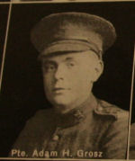 Photo of Adam Grosz– In memory of the men and women from the Waterloo area who went to war and did not come home. From the booklet, Peace Souvenir – Activities of Waterloo County in the Great War 1914 – 1918. From the Toronto Public Library collection.  Submitted for the project, Operation: Picture Me.