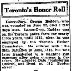Newspaper clipping– GLOBE AND MAIL online archive. 1916, August 21. p 9  TORONTO HONOUR ROLL feature. Top entry